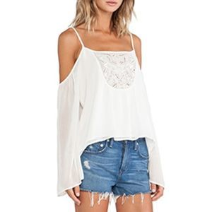 NWT Lovers + Friends white cold shoulder blouse